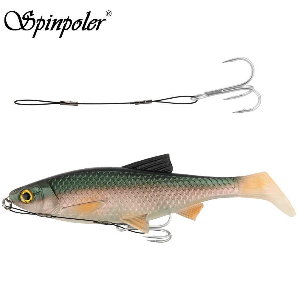 Spinpoler 1pcs #6 #1 #1/0 #2/0 Fishing Hook Connector Line For Lock Soft Lure Baits Fishhook Hard Fishing Accessories