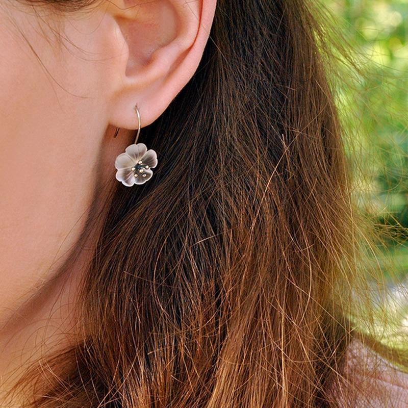 Uhani iz srebra iz srebra Lotus 925 iz naravnega oblikovalca iz - Lep nakit