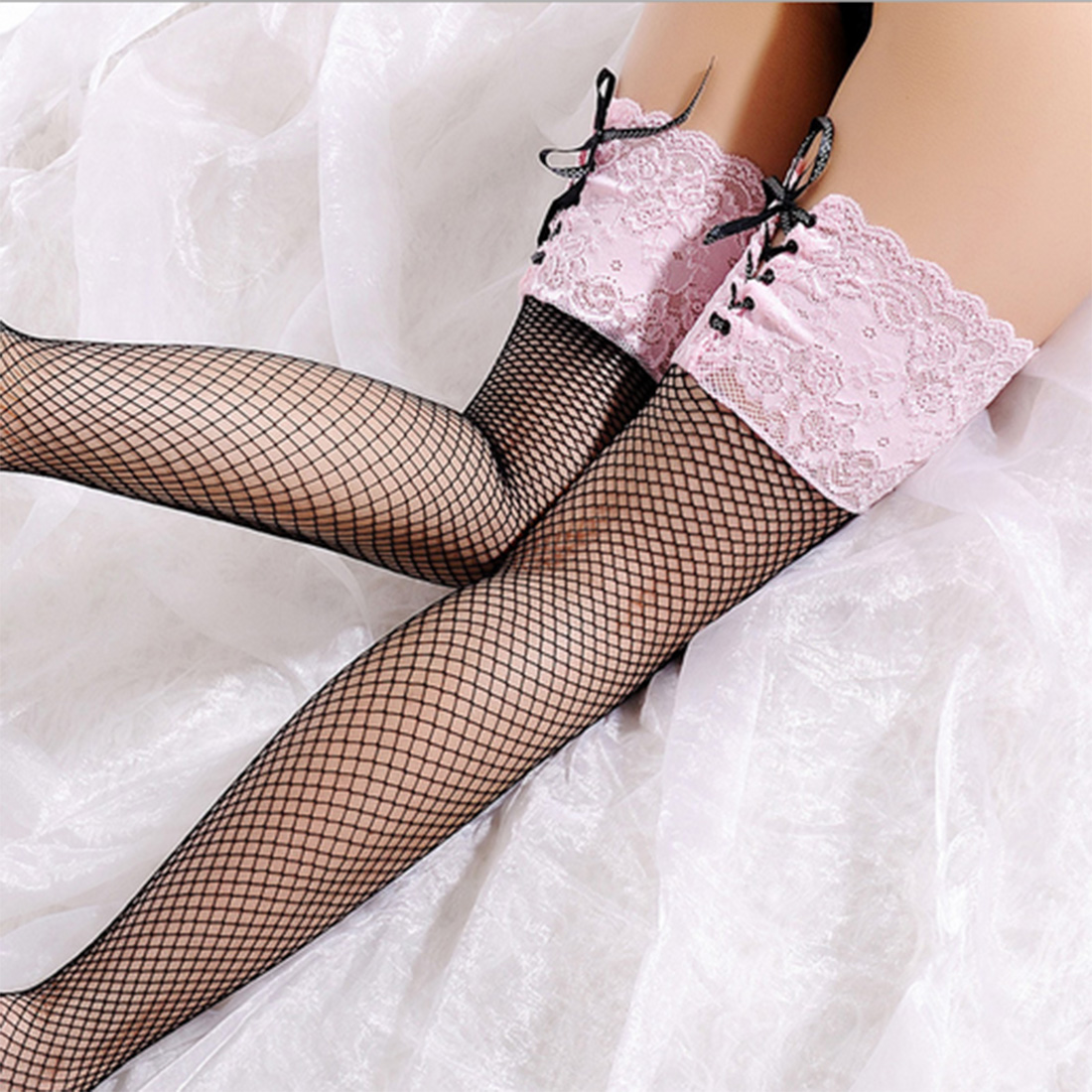 cf100d856d153 Sexy Women's Fishnet Stocking Sheer Lace Top Thigh High Stockings Hosiery  Nets Stay Up For Women Female Stockings Pink White