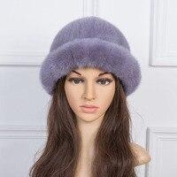 women winter fur hats gray warm genuine mink fur fedoras red black casual fur caps fashion female fedoras H190