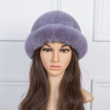 women winter fur hats gray warm genuine mink fur fedoras red black casual fur caps fashion female fedoras H190