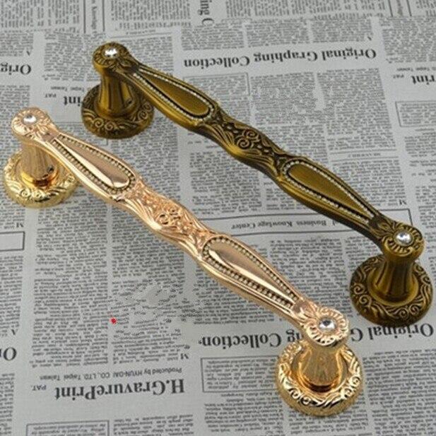 300mm de Alta Qualidade de Cristal de Luxo Porta Hanldles Ouro Porta de Madeira Puxa Porta de vidro Antigo Liga de Zinco Ktv Holet Maçanetas puxa