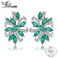 JewelryPalace Unique Design 2.1ct Green Nano Russian Created Emerald Clip On Earrings Real 925 Sterling Silver Women Jewelry
