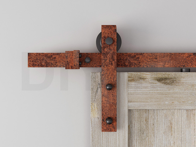 Diyhd 6ft12ft Fire Flame Red Rustic Sliding Barn Door Hardware Wood