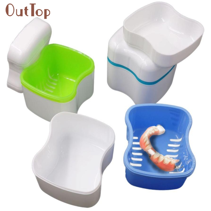 New Denture Bath Box Case Dental False Teeth Storage Container