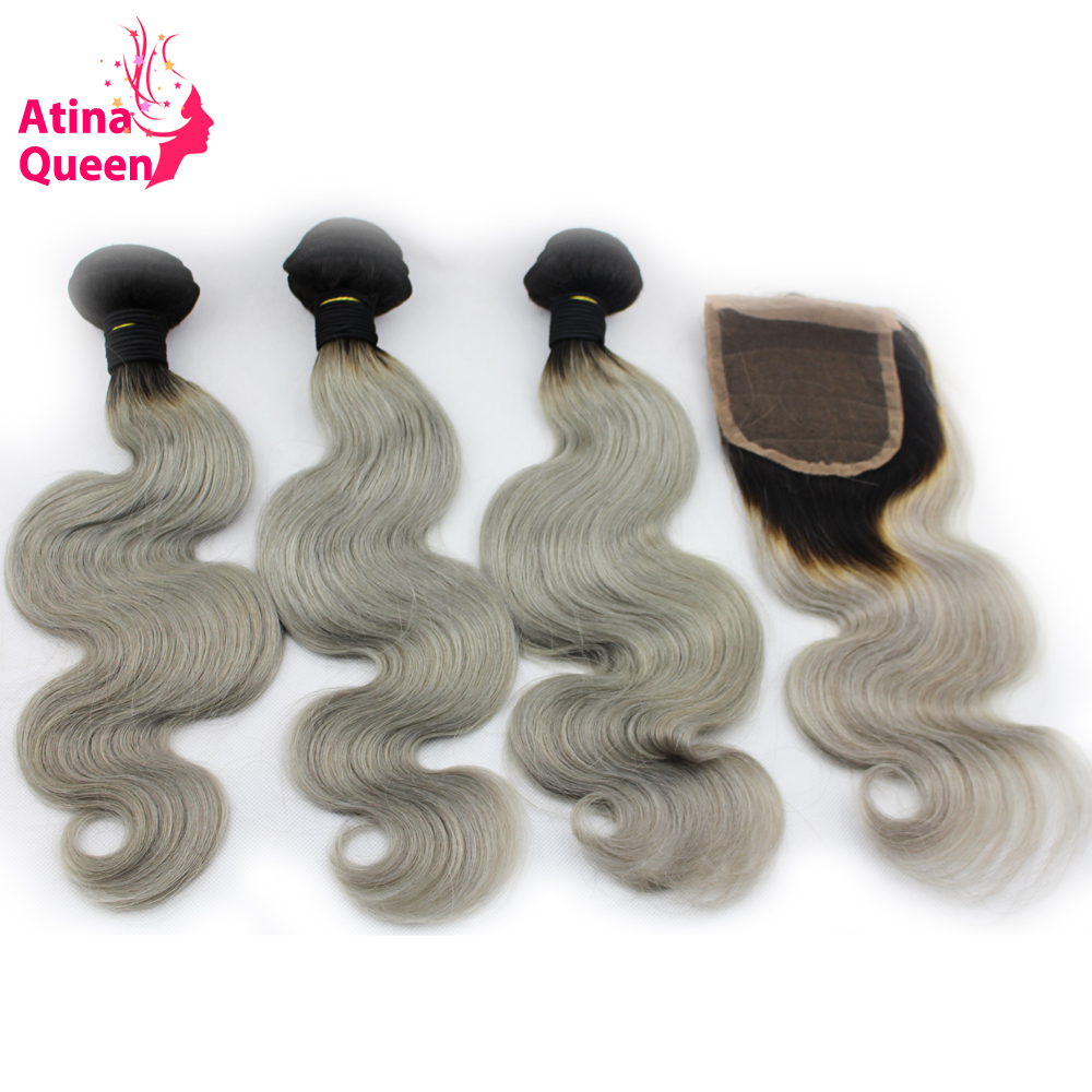 Atina Queen Ombre 1B/GREY Human Hair Weave with Closure