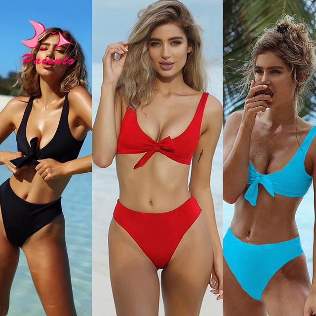 f27a8362b66f3 Pacento New Solid High Waist Bikini Tied Crop Top Sexy Swimsuit Women  Swimwear Female 2017 Red Blue Black Bathing Suits Plavky