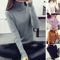 2017 Hot Sale Women Sweater Ladies High Neck Sweater Twist Sleeve Sweater Women S Autumn Winter