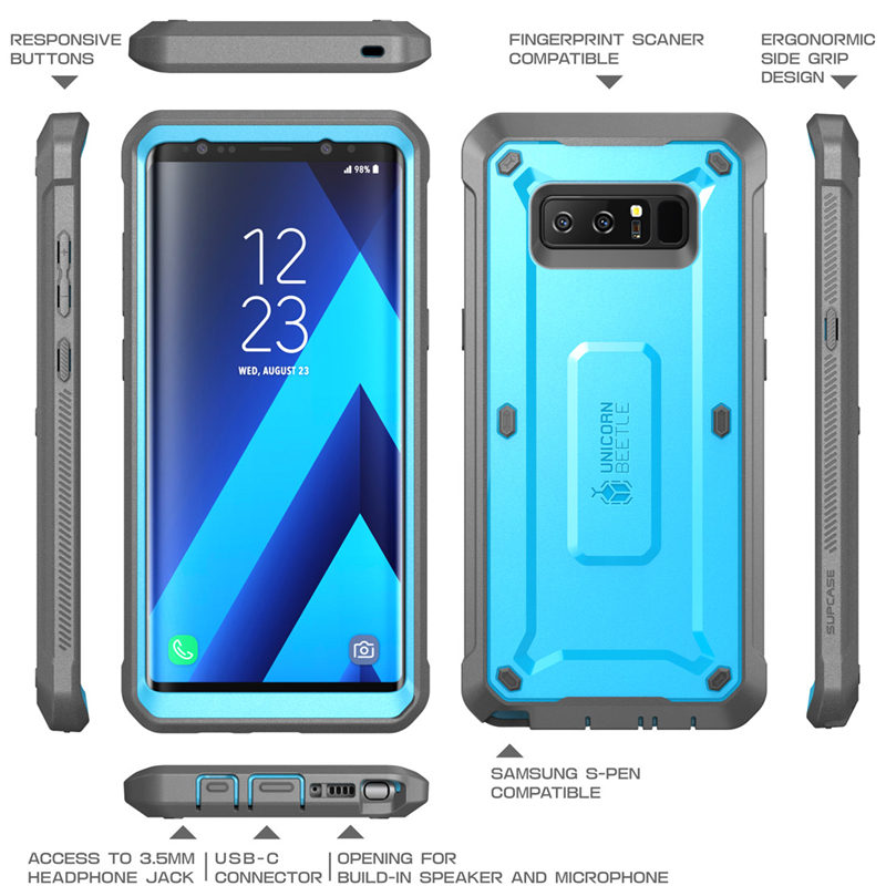 reputable site 7b086 afe3c US $15.99 20% OFF|For Samsung Galaxy Note 8 Case SUPCASE UB Pro Series Full  Body Rugged Holster Protective Cover with Built in Screen Protector-in ...