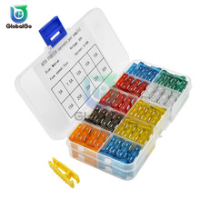 100pcs/Lot Mixed Mini Blade Fuse 5A 10A 15A 20A 25 30A AMP Set For Truck Boat Auto Car Fuse Clip  Removal Tool 4pcs abs fuse automobile car fuse fetch clip timeproof extractor puller tool