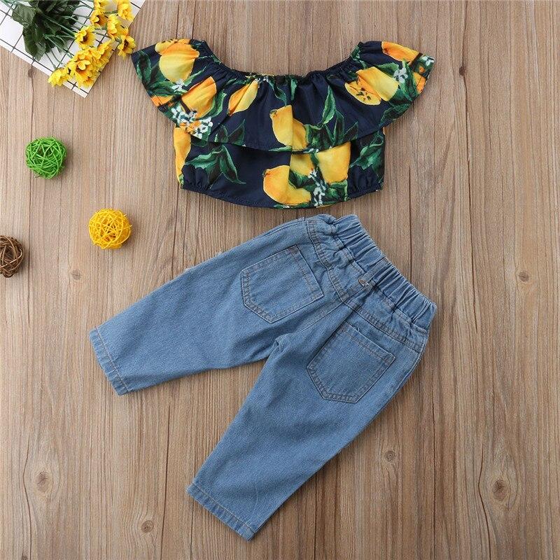Kids Girls Summer Clothes Set New Baby Girl Off shoulder Lemon Printed Crop Tops+Hole Denim Pants 2Pcs Outfits Kids Clothing Set
