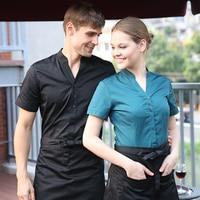 Hot chef cook kitchen Work wear V neck short sleeve waiter waitress shirt black red Wine blackish green waiter uniforms
