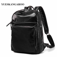YUES KANGAROO Brand Leather Men S Backpack High Quality Youth Travel Laptop Rucksack Male School Shoulder