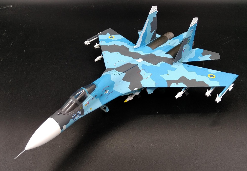 JCW 1:72 Russia SU-27 Ukrainian Air Force Fighter model Alloy aircraft model Collection model zhuhai airshow 32 cm j 11 fighter aircraft model su 27 1 72 simulation model china air force of the cpla alloy model