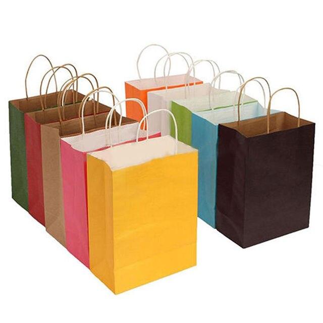 Saco de papel 1 PC Branco Reciclável Compras Saco Do Presente Do Partido Sacos de Papel com Alças Torcidas (Roxo, Verde, roxo, Vermelho, Amarelo, Azul, Caqui) 137