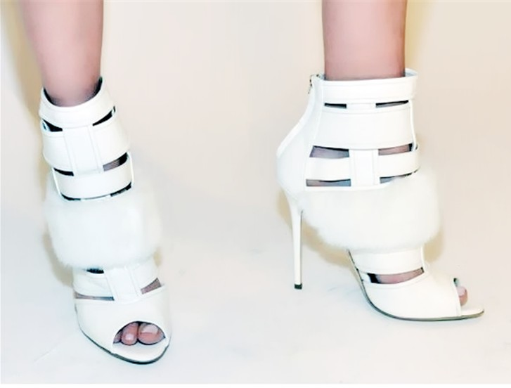 2016 Brand Designer Spring brand Dress Shoes Women Peep Toe Fur Embellished High brand Booties Mujer Cut Outs Ankle Boots designer luxury designer shoes women round toe high brand booties lace up platform ankle boots high quality espadrilles boot