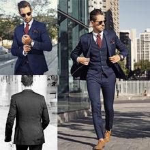 2018 Dark Navy Men Wedding Suit Slim Fit 3 Pcs Tuxedo Groomsman Formal Custom