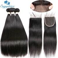 Sapphire Unprocessed Brazilian Straight Human Hair 3 Bundles With Closure Brazilian Human Hair With Lace Closure