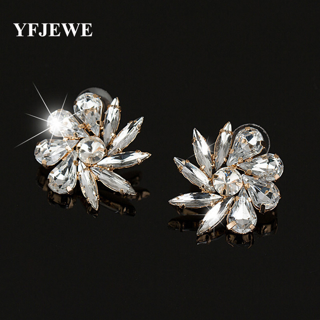 YFJEWE Factory price wholesale Flower Design Stud Earrings Colorful Created  Gold Color 2 color Jewelry earrings for Women  E346 f3d5148ed1ed