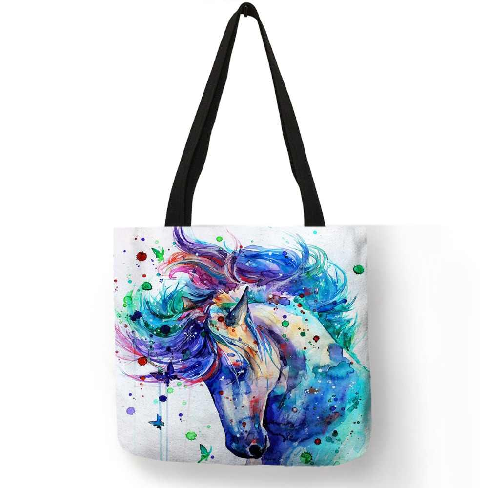 82224250da51 Exclusive Watercolor Horse Print Linen Shopping Bag Folding Reusable  Traveling School Bags Casual Handbags For Women