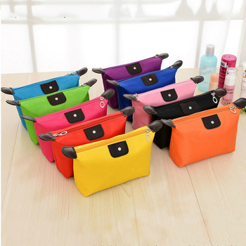 Korea Style Candy Color Waterproof Cosmetic Bags New Red Dumpling-shaped Folding Women Toiletry Kits Rose Admission Cosmetic Bag Несессер