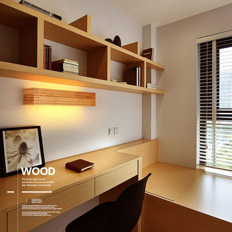 Applique murale Simple en bois de caoutchouc pour chambre à coucher ...