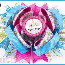 50 шт./лот 4,5 ''Вдохновленный Единорог банты для волос мультяшный Радужный Единорог заколки для волос с днем рождения банты