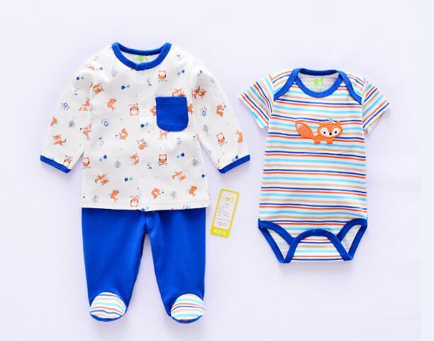 Baby Clothing Sets Super Soft Cotton Boy Suits Newborn 3 Piece Girl Clothes Sets Infant Roupas de bebe Bodysuits+Pants+Outerwear