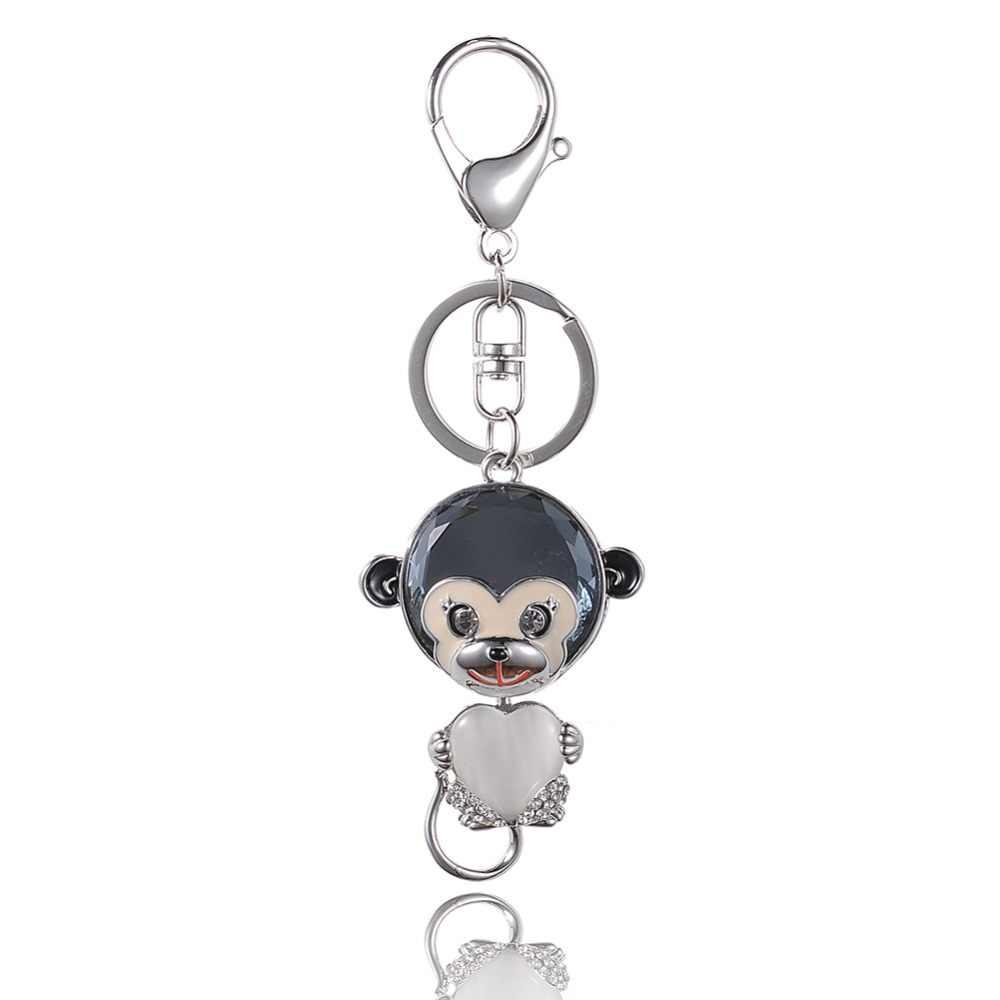 טפטוף באיכות גבוהה סגסוגת Keychain Chaveiro טיפת שמן זיגוג חמוד קוף לב אופל קריסטל KeyChain זהב-צבע נירוסטה מפתח טבעת
