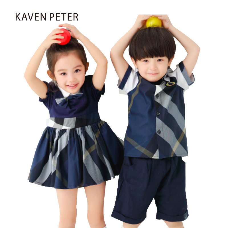 Girl dress blue plaid dress and Bowknot summer girls puff sleeve dress school uniforms brother and sister clothing 3 7T