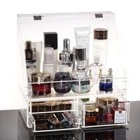 Transparent cosmetics oversized storage box clamshell dermoprotector storage rack desktop storage box