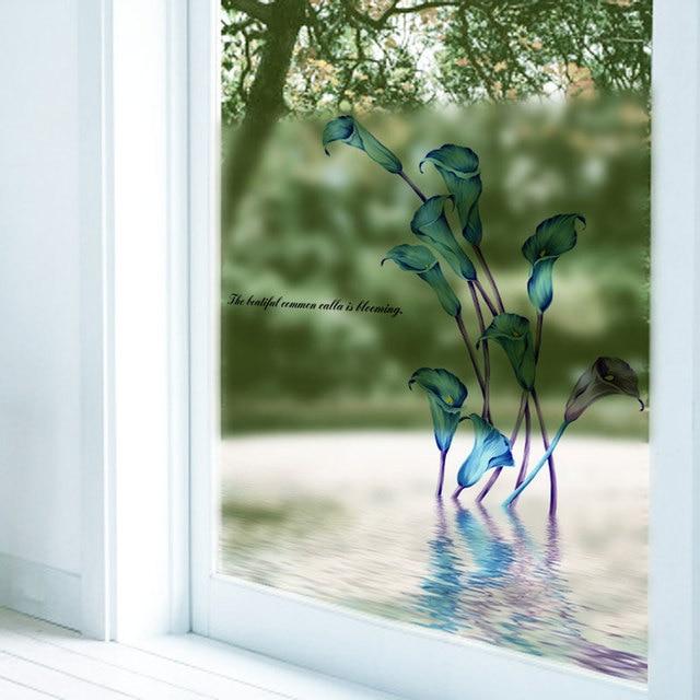 Calla Lily Wandaufkleber Blume Milchglas Film Papier Schiebetür Badezimmer  Wandaufkleber Zitate DIY Wand Dekor Aufkleber