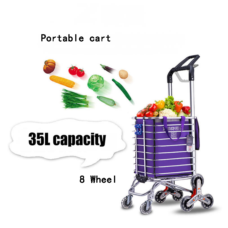 35L Stair ladder Shopping Cart, Household Sturdy Trolley Trailer, Portable cart with alu ...