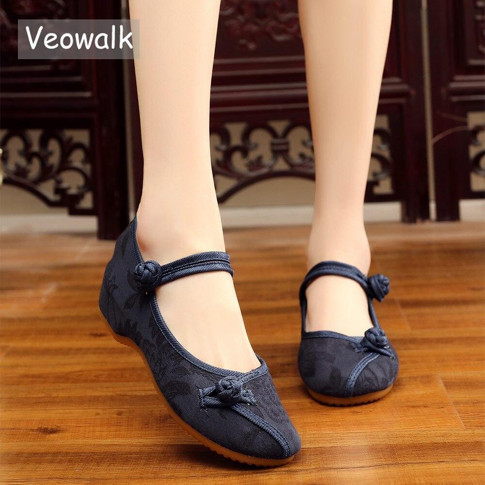 Veowalk דירות בלט נשים רקומות בד כותנה בסגנון קלאסי הסיני אלגנטי גבירותיי בד הליכה נוחות מזדמן