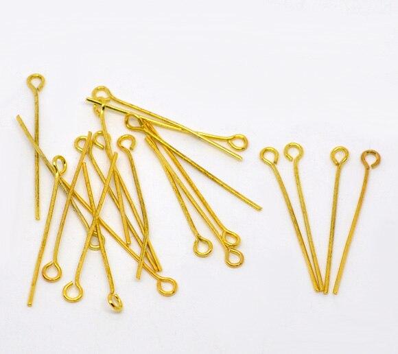 DoreenBeads 500PCs Gold Color Eye Pins 30x0.7mm(21 Gauge) (B01660)