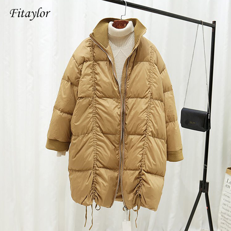 Fitaylor Women Long Coat 2020 Winter Warm Coat Long Sleeve White Duck Down Parka Stand Collar Outwear Jacket Casual Down Clothes
