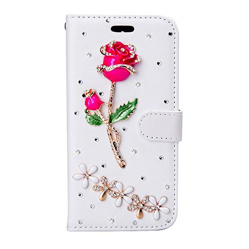 Flip Leather Rhinestone Phone Case For Samsung Galaxy S20 S9 S8 A3 2016 A7 A5 2017 A10 A20 A30 A40 A50 A51 A70 Shockproof Cover