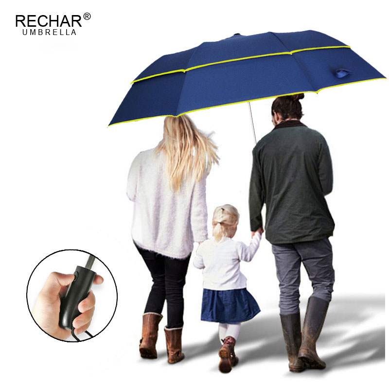 RECHAR Brand 120cm Umbrella Rain Women Dual-Folding Double Layer Strong Windproof Semi-Automatic Umbrella For Men Golf Paraguas
