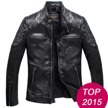 2015 Same section Men's Genuine Leather Jacket Stand Collar Sheep skin Motorcycle leather Jacket  tanned leather jacket