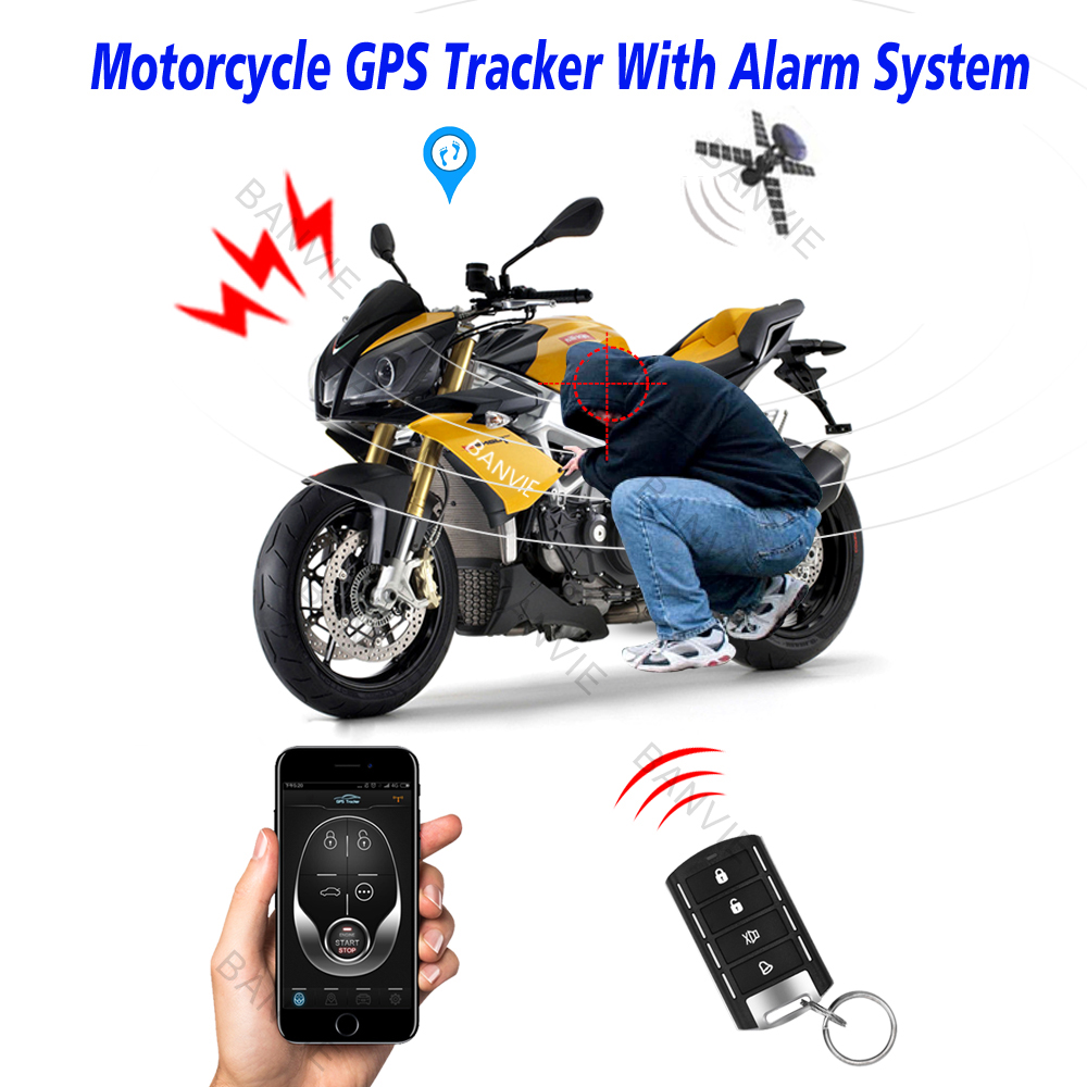 High Quality Motorcycle GPS Tracker + One Way Remote Engine Start Motorcycle Alarm with Android and Iphone APP