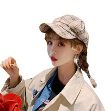 Concise Beret women hat Chic Newsboy Hat Fashionable Retro Artist Tartan Cap For Men Women