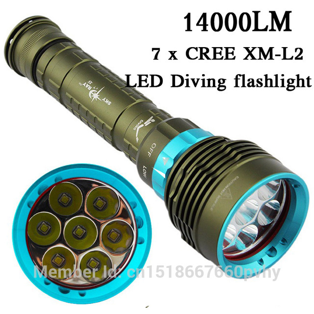 2016 New 14000 Lumen Underwater 200m Torch 7 X Cree Xm-l2 Led Scuba Diving Flashlight Light For 3x18650 Or 26650 Battery цена