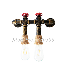 Loft Vintage E27 double heads industrial hemp wall light creative American iron staircase water pipe wall lamp for Restaurant