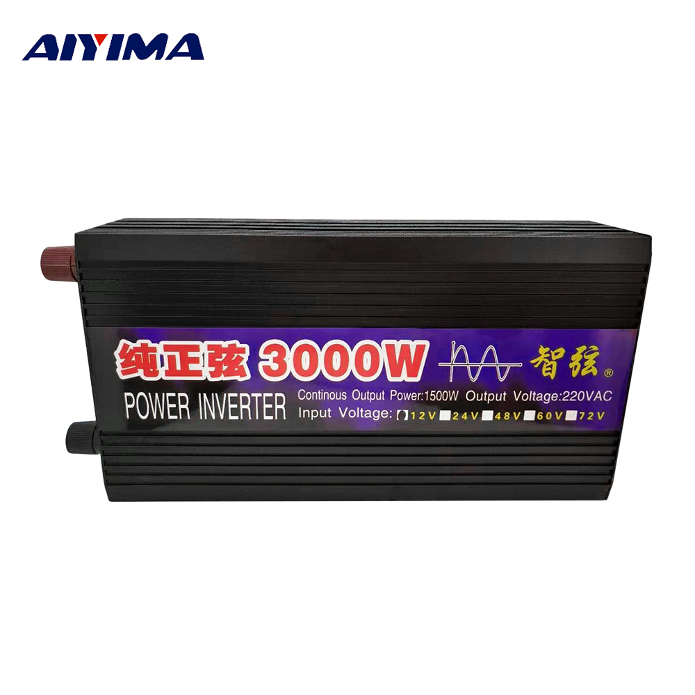 AIYIMA 3000W 12V 24V To 220V Pure Sine Wave Car Power Inverter Power Conversion Booster Double