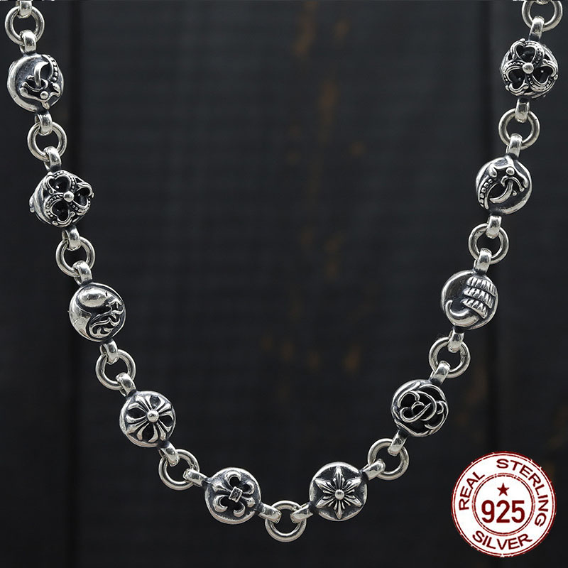 100 S925 sterling silver necklace personality retro domineering thick birthday sweater chain fashion couple gift 2019