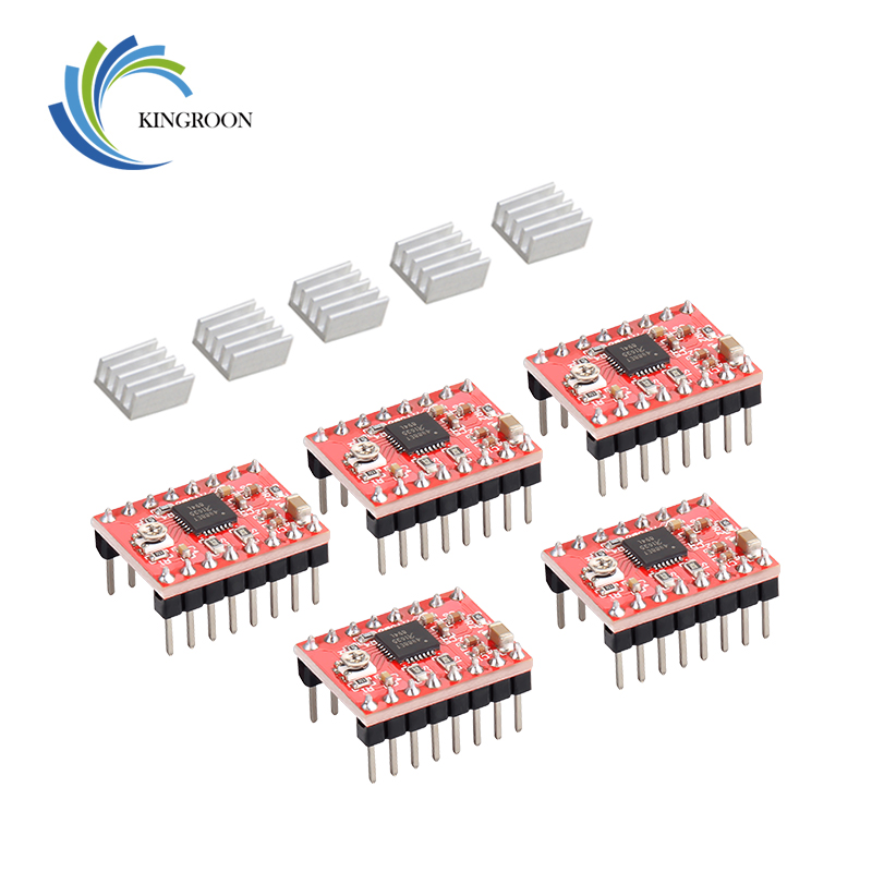 KINGROON 5PCS/lot A4988 StepStick Stepper Driver+Heat Sink For Reprap 3D Printer Parts Red Motor Driver With Heatsink Accessorie