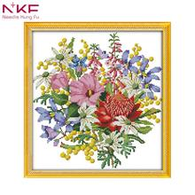 NKF Wild bouquet 1 DIY handmade DMC 14ct and 11ct Cross stitch kit and Precise Printed Embroidery set nkf 11ct