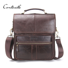 CONTACT'S Brand 2017 NEW Genuine Leather Shoulder Bag Men Messenger Bags Zipper Design Men Commercial Briefcase CrossBody Bag
