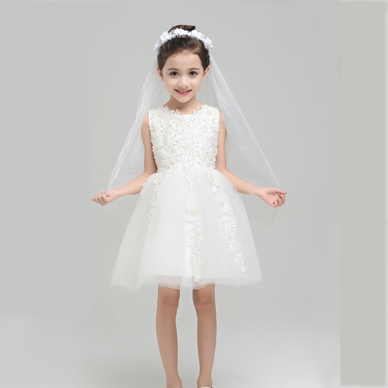 Baby Girls Dress Elegant Ball Gown Lace Embroidery Flower Girls Dress For Wedding Summer 2017 Prom Party Kids Girls Dress P05 girls embroidery detail contrast lace hem dress