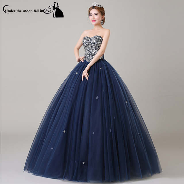dac6211957f3 Elegante Sweetheart Cristalino Moldeado Tulle Piso-Longitud Azul Marino  Bule Barato Vestidos de Bola Vestidos de 15 Anos Presentación Vestidos de  ...